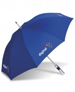 Royalty Golf Umbrella  A helpful necessity come rain or sunshine. This umbrella is large enough for more than one person.  Vented canopy for wind resistance.  Fibreglass shaft for durability.  Comfortable foam handle.  Get your logo out there with great branding space. 8 panels.  Available in 10 bright colours  190T nylon: 127 (dia): fibreglass shaft : EVA foam handle  Includes colour co-ordinated 190T nylon pouch with carry strap ( not shown ). Sublimation branding available on white panels only.