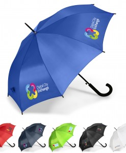 A classic fashion umbrella that will be appreciated by its recipient .Available in 6 awesome colours. Features: hook handle: strong steel shaft: 8 panels • 190T polyester : 94 dia • PP handle with rubberised coating. Sublimation branding available on the white umbrella only. 190T polyester  steel shaft  PP handle with rubberised coating  94 ( dia )  8 panels
