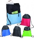 Drawstring Sport Bag With Zip Pocket - 210D