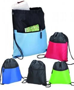 Drawstring Sport Bag With Zip Pocket - 210D